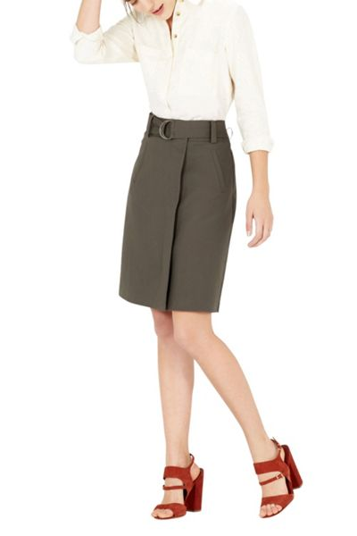 Warehouse Compact Cotton A-Line Skirt