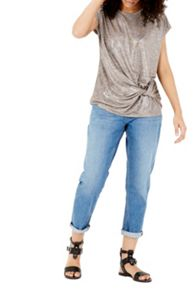 Warehouse Twist Drape Metallic Tee
