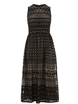 Zig Zag Lace Midi Dress