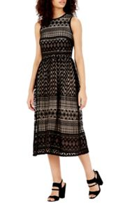 Warehouse Zig Zag Lace Midi Dress