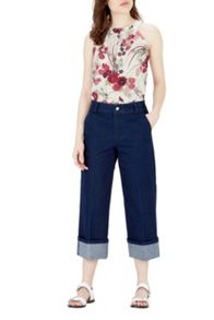 Warehouse Oriental Floral High Neck Top