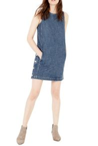 Warehouse Side Button Denim Dress