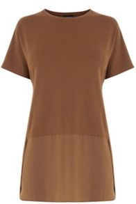 Warehouse Woven Mix Short Sleeved Top