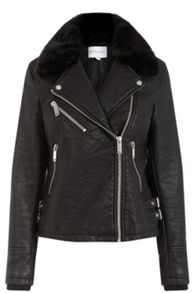 Warehouse Faux Fur Collar Biker Jacket