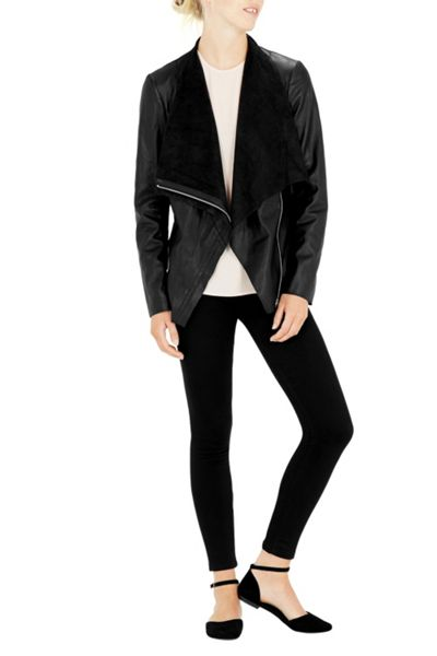 Warehouse Drape Neck Pu Jacket
