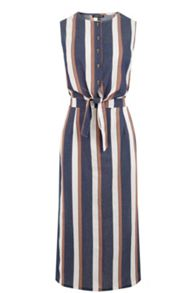 Warehouse Stripe Tie Front Dress