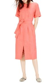 Warehouse Linen Mix Belted Dress