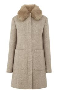 Warehouse Swing Faux Fur Collar Coat