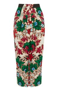 Warehouse Floral Wrap Midi Skirt