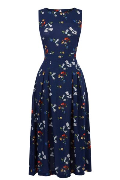 Warehouse Spaced Floral Open Back Dress