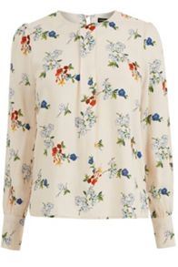 Warehouse Spaced Floral Puff Sleeve Top
