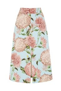 Warehouse Pom Pom Print Floral Skirt
