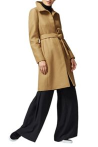 Warehouse Clean Funnel Belted Coat