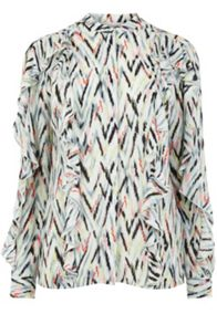 Warehouse Zig Zag Print Ruffle Blouse