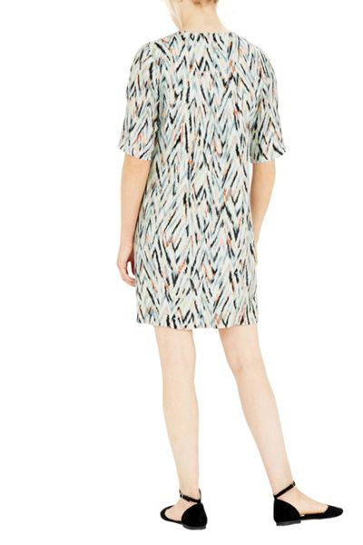 Warehouse Zig Zag Print Ruffle Dress