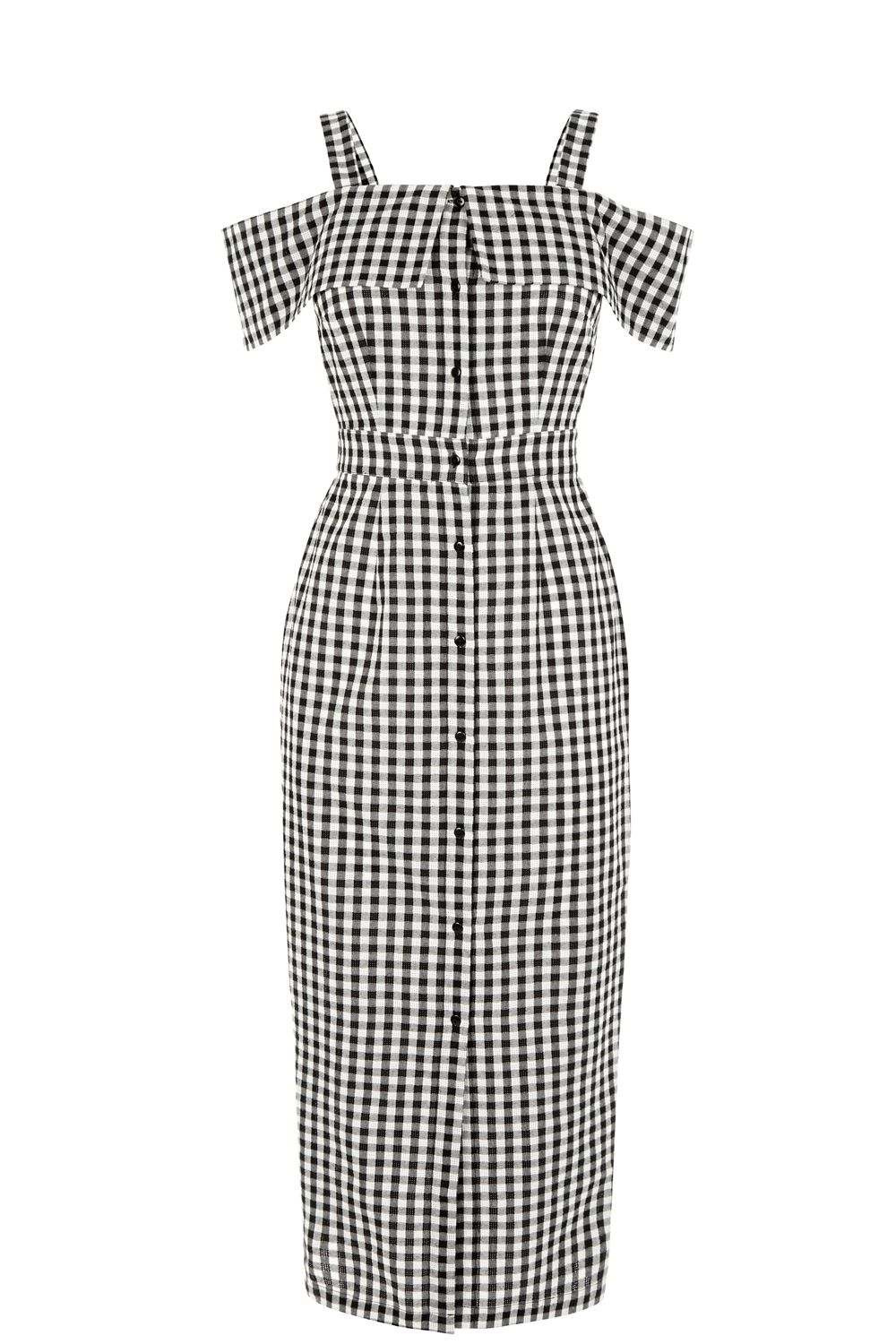 Warehouse Gingham Off Shoulder Dress Black £49.00 AT vintagedancer.com