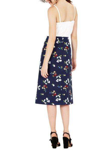 Warehouse Spaced Floral Midi Skirt
