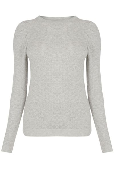 Warehouse Pointelle Puff Sleeve Jumper