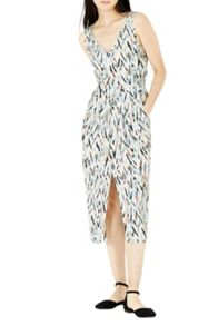 Warehouse Zig Zag Wrap Midi Dress