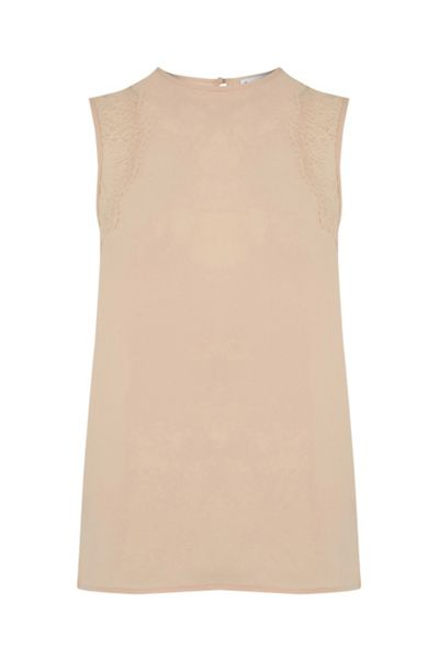 Warehouse Sleeveless Lace Detail Top
