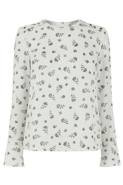 Warehouse Dotty Floral Fluted Sleeve Top