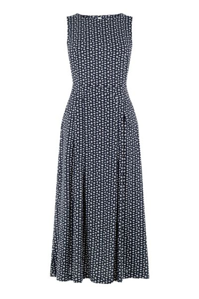 Warehouse Squiggle Print Open Back Dress
