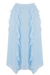Warehouse Ruffle Spot Midi Skirt