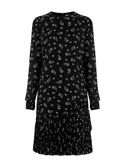 Dotty Floral Pleated Hem Dress