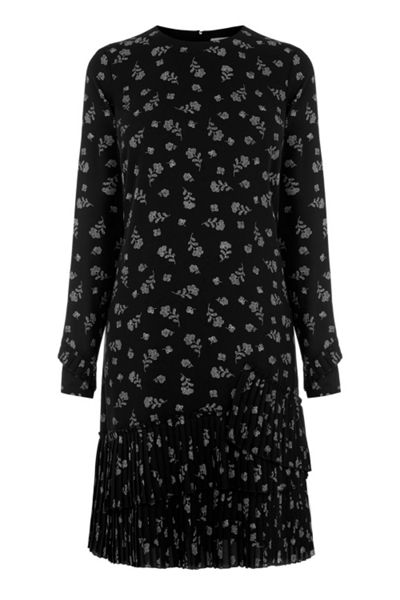 Warehouse Dotty Floral Pleated Hem Dress