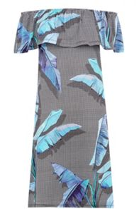 Warehouse Palm Print Bardot Dress