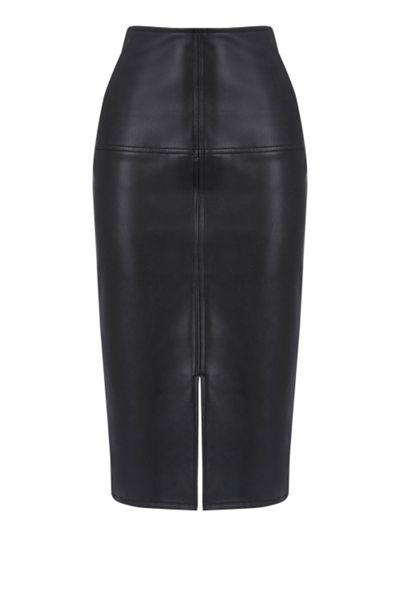 Warehouse Faux Leather Pencil Skirt