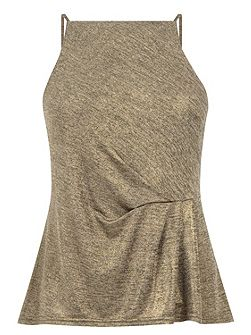 Tuck Detail Metallic Cami