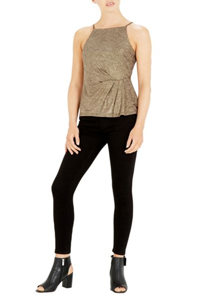 Warehouse Tuck Detail Metallic Cami