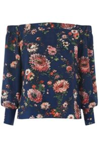 Warehouse Painted Floral Bardot Top