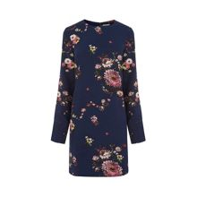 Warehouse Painted Floral Shift Dress