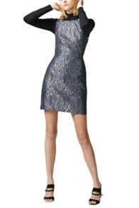 Warehouse Zebra Metallic Shift Dress