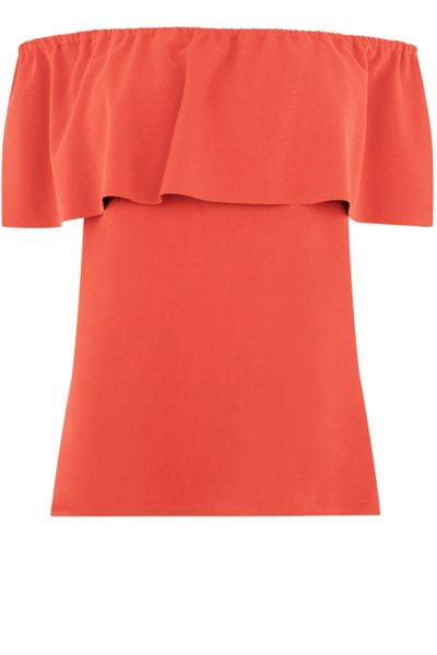Warehouse Crepe Off Shoulder Top