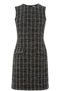 Warehouse Pocket Front Tweed Dress