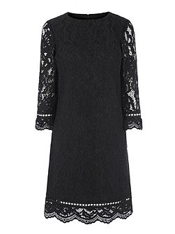 Bonded Lace Long Sleeve Dress
