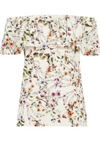 Warehouse Trailing Floral Bardot Top