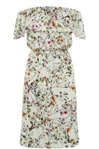 Warehouse Trailing Floral Bardot Dress