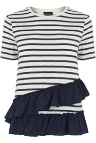 Warehouse Cotton Stripe Ruffle Tee