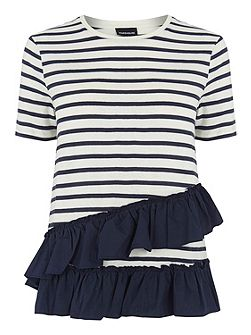 Cotton Stripe Ruffle Tee