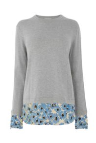 Warehouse Daisy Print Hybrid Jumper