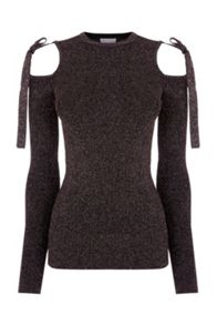 Warehouse Sparkle tie shoulder jumper