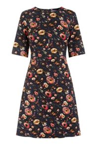 Warehouse Painted Floral Ponte Dress