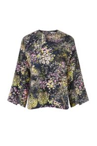 Warehouse Winter Floral Split Sleeve Top