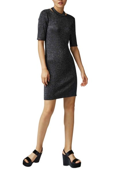 Warehouse Sparkle Split Neck Dress