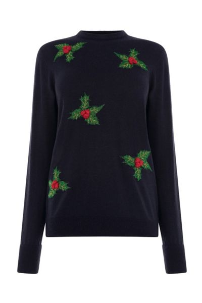 Warehouse Holly Christmas Jumper