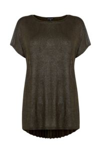 Warehouse Metallic Pleat back Top